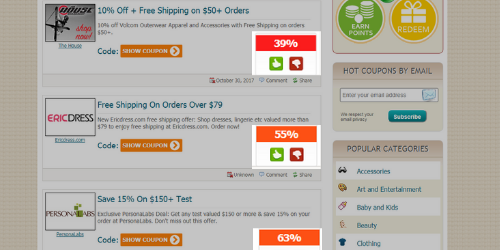 Frugaa upvoting/downvoting for coupons